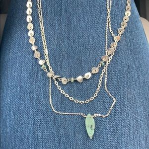 free people layered jade necklace